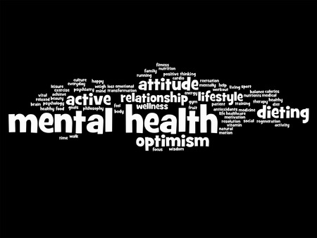 mentally: Vector conceptual mental health or positive thinking word cloud isolated Illustration