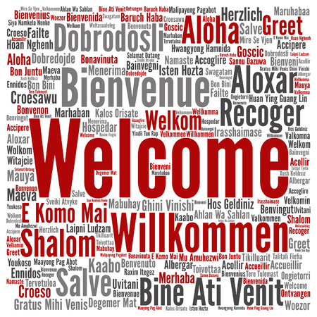 Concept or conceptual welcome or greeting international word cloud in different languages or isolated