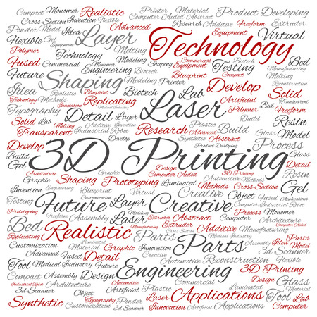 Concept or conceptual 3D printing creative laser technology word cloud isolated Illustration