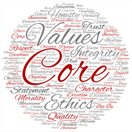 Conceptual core values integrity ethics concept word cloud isolated