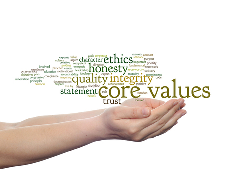 golden rule: Conceptual core values integrity ethics concept word cloud in hands isolated on background