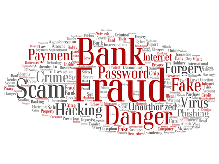 fraudulent: Concept or conceptual bank fraud payment scam danger word cloud isolated on background Stock Photo