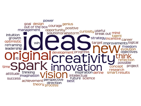 Concept or conceptual creative new ideas brainstorming word cloud isolated on background