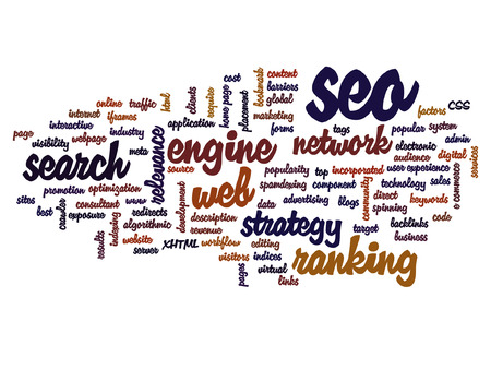 Vector concept or conceptual search engine optimization, seo abstract word cloud isolated