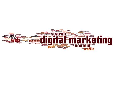 Vector concept or conceptual digital marketing seo or traffic abstract word cloud isolated on background Illustration