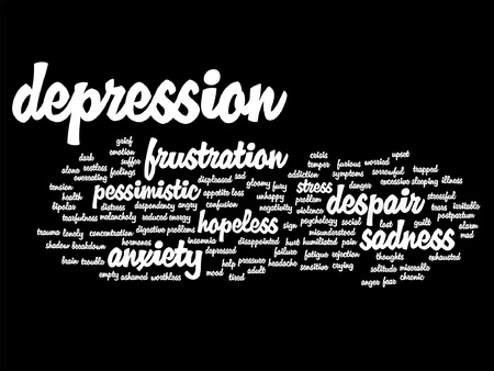 Vector conceptual depresion or mental emotional disorder word cloud isolated