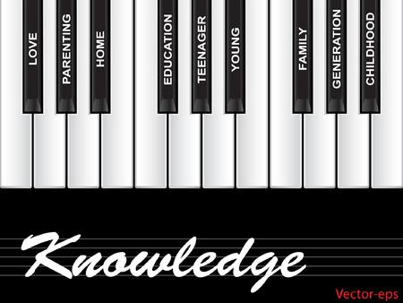 ベクトル概念または概念の白いテキスト単語の雲子、家族、教育、生活のための隠喩として黒の背景に分離したピアノのキーとしてタグクラウド、ホーム、愛と学校学習成果 写真素材 - 84225172