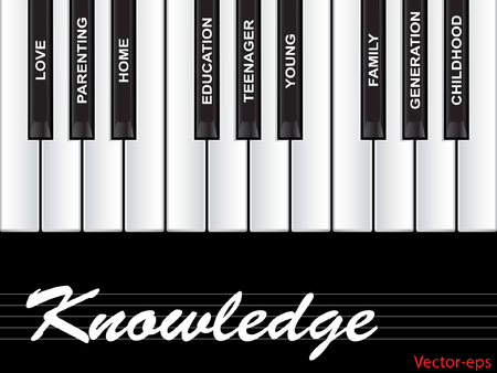 Vector concept or conceptual white text word cloud or tagcloud as piano keys isolated on black background as a metaphor for child, family, education, life, home, love and school learn achievement