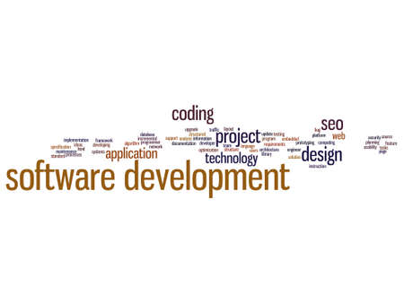 html: Vector concept or conceptual software development project coding technology abstract word cloud isolated on background