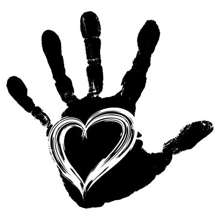 Vector conceptuele schattige verf menselijke hand of handprint van kind met hart vorm geïsoleerd op een witte achtergrond