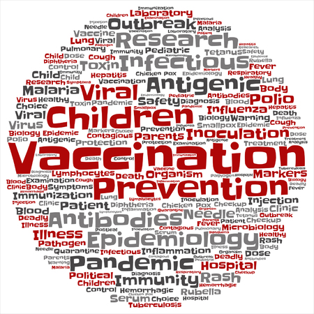 infectious: Vector concept or conceptual children vaccination viral prevention round word cloud isolated background. Collage of infectious antigenic flu antibodies, epidemiology immunization or inoculation text