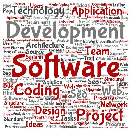 html: Vector concept or conceptual software development project coding technology square word cloud isolated on background metaphor to application web design, seo ideas, implementation, testing or upgrade