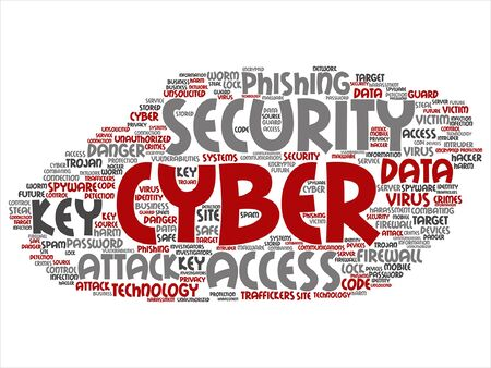 spyware: Vector concept or conceptual cyber security access technology word cloud isolated on background