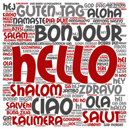 Vector concept or conceptual square hello or greeting international word cloud in different languages or multilingual, metaphor to world, foreign, worldwide, travel, translate, vacation or tourism Çizim