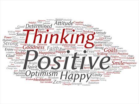 벡터 개념 또는 개념적 긍정적 인 생각, 행복 강한 태도 단어 구름 배경에 고립