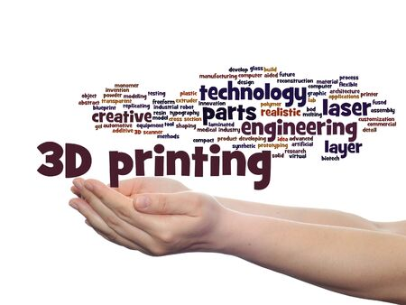 prototyping: Concept or conceptual 3D printing creative laser technology word cloud in hands isolated on background Stock Photo