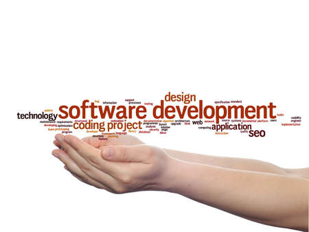 html: Concept or conceptual software development project coding technology word cloud in hands isolated on background