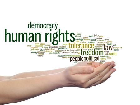 概念または概念の人権政治自由または民主主義言葉クラウド背景に分離の手で 写真素材