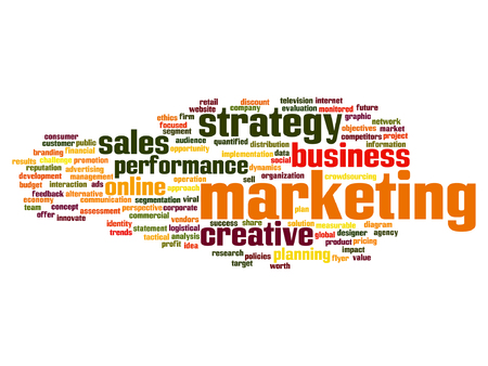 Vector concept abstract business success marketing word cloud wordcloud on background for business, trend, media, focus, market, value, product, advertising or customer. Also for corporate wordcloud Illustration