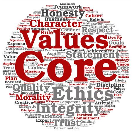 Vector conceptuele kernwaarden integriteit ethiek concept woord wolk geïsoleerd op achtergrond