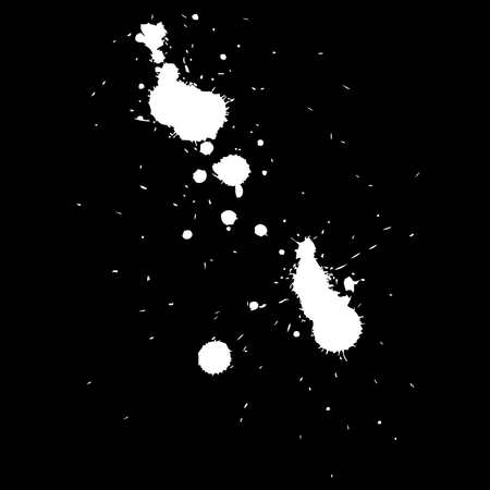 Vector artistic white paint hand made creative wet dirty ink or oil drop spots silhouette isolated on background Illustration