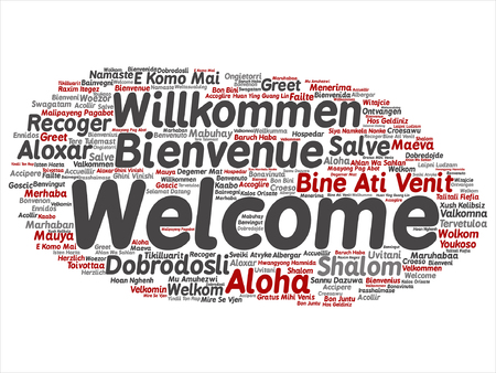 word cloud concept of greetings in different language isolated  vector concept or conceptual welcome or greeting international word cloud in different languages or isolated vector
