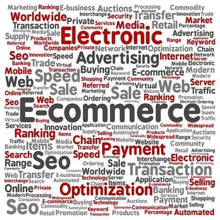 b2b: Vector concept or conceptual E-commerce electronic sale square word cloud isolated background. Collage of seo optimization transaction, web advertising, e-business, technology, worldwide supply text Illustration