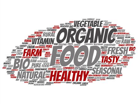 Concept or conceptual organic food healthy bio vegetables word cloud isolated on background