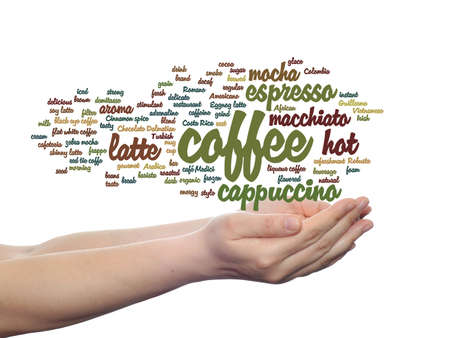 macchiato: Concept conceptual creative hot coffee, cappuccino or espresso abstract word cloud in hand isolated