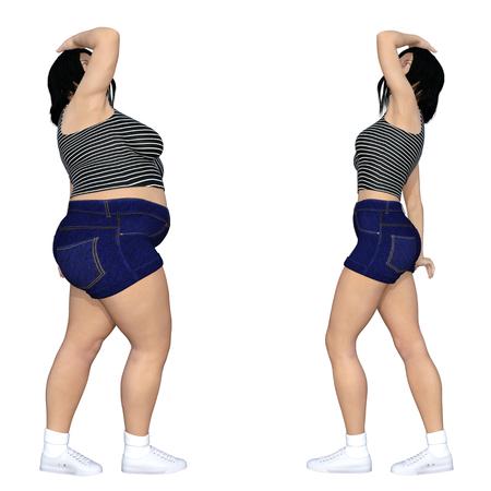 Conceptual grasa sobrepeso obeso mujer contra adelgazante ajuste saludable dieta con músculos delgada mujer joven aislado para la pérdida de peso, cuerpo fitness, nutrición grasa, la obesidad, la salud, la forma de dieta ilustración 3D Foto de archivo - 84574759
