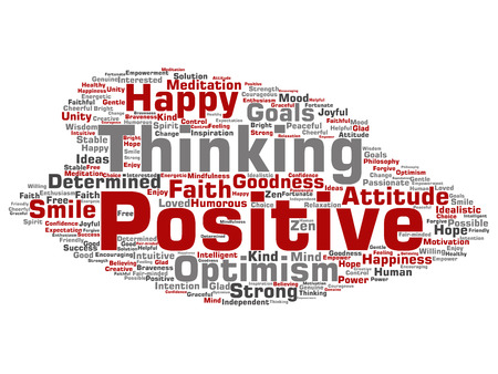 Concept or conceptual positive thinking, happy strong attitude word cloud isolated on background