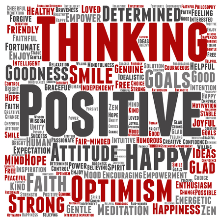 Concept or conceptual positive thinking, happy or strong attitude word cloud isolated on background Stock Photo