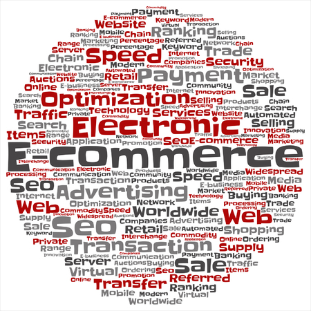 b2b: Vector concept or conceptual E-commerce electronic sale word cloud isolated on background Illustration