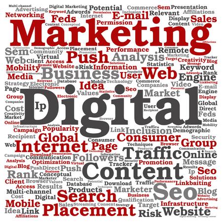 Concepto de vector o conceptual de marketing digital seo o tráfico palabra nube aislada en segundo plano Foto de archivo - 84629106