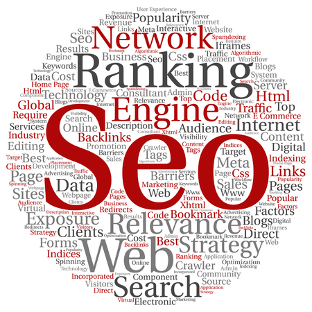 optimizing: Vector concept or conceptual search engine optimization, seo abstract word cloud isolated