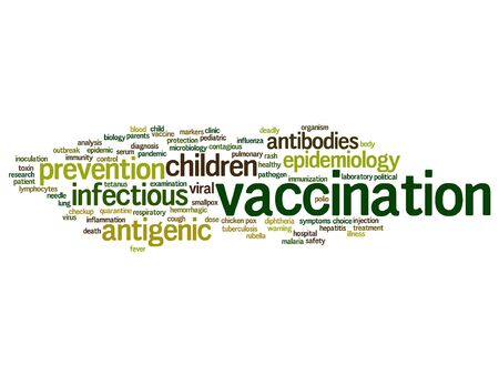 Vector concept or conceptual children vaccination or viral prevention word cloud isolated on background Illustration