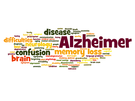 delusional: Vector conceptual Alzheimer`s disease symtoms word cloud isolated Illustration