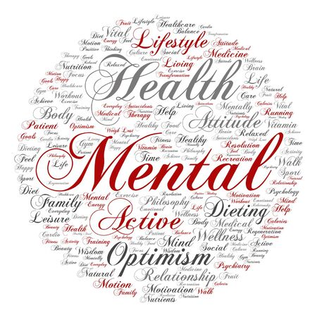 Vector conceptual mental health or positive thinking abstract word cloud isolated
