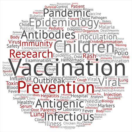 Vector concept or conceptual children vaccination or viral prevention word cloud isolated on background Banco de Imagens - 84588830