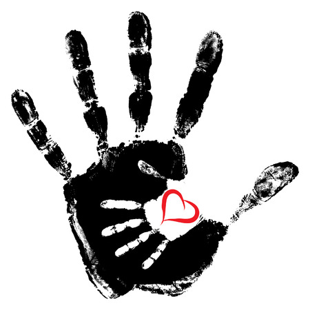 Vector concept or conceptual cute paint hand of mother child and heart shape isolated on white background  イラスト・ベクター素材