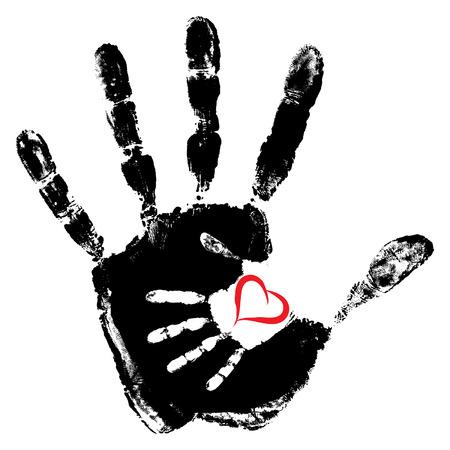 concept de vecteur ou conceptuel mignon peinture main de la mère et de l'enfant en forme de coeur isolé sur fond blanc