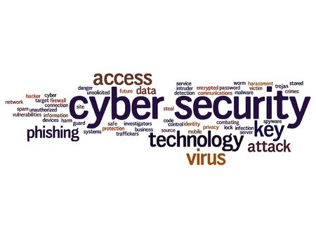 infected: Vector concept or conceptual cyber security access technology word cloud isolated on background