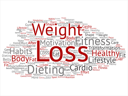 A Vector concept or conceptual weight loss healthy dieting transformation abstract word cloud isolated background. Collage of fitness motivation lifestyle, before and after workout slim body beauty text