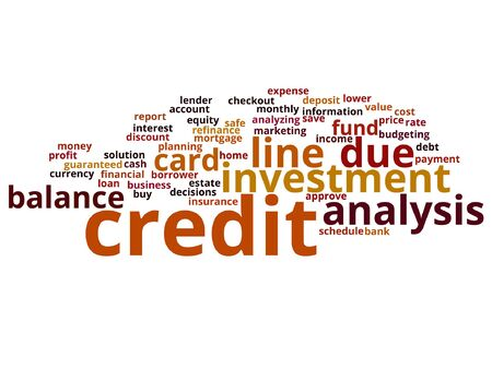 A Vector concept or conceptual credit card line investment balance abstract word cloud isolated on background Illustration