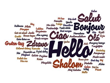 Vector concept or conceptual abstract hello or greeting international word cloud in different languages or multilingual, metaphor to world, foreign, worldwide, travel, translate, vacation or tourism Illustration