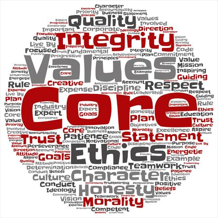 Vector conceptual core values integrity ethics concept word cloud isolated on background Ilustração Vetorial