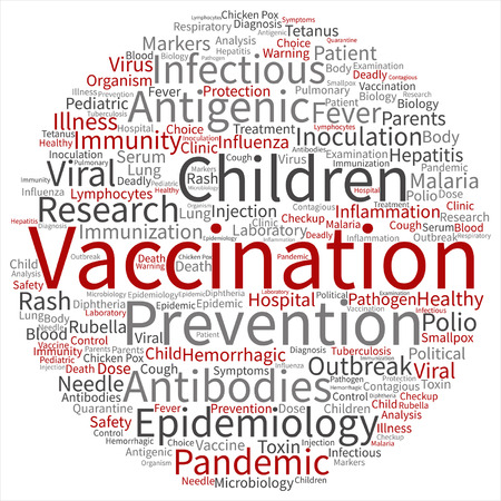 virus bacteria: Vector concept or conceptual children vaccination or viral prevention word cloud isolated on background Illustration