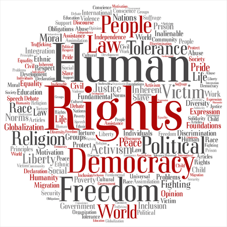 Vector concept or conceptual human rights political freedom or democracy round word cloud isolated on background metaphor to humanity world tolerance, law principles, people justice discrimination