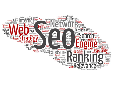 optimizing: Concept or conceptual search engine optimization, seo abstract word cloud isolated