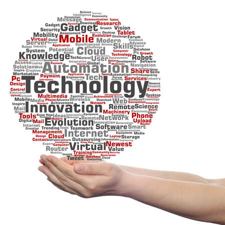 technology collage: Concept or conceptual digital smart technology, media word cloud in hand isolated